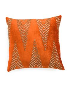 22x22+Made+In+India+Velvet+And+Beaded+Pillow