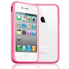 APPLE ACCESSORIES /  IPHONE /  TPU BUMPER FRAME SILICONE SKIN CASE COVER FOR IPHONE 4 / 4S - LIGHT PINK