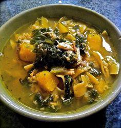 Chicken Noodle Soup with Kale & Squash