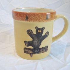 Bearfoots Bears Coffee Mug Cup Bear Log Big Sky Carvers Evergreens 12 oz Retired