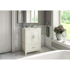 Charlton Home Crist Freestanding Style 24 Single Sink Bathroom Vanity Set Base Vanity Set, Single Sink Bathroom Vanity, White Bathroom, Small Bathroom, Bathroom Vanities, Bathroom Ideas, Ikea Bathroom, Bathroom Cabinets, Bath Ideas