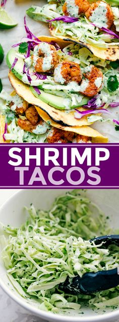 Perfectly seasoned shrimp with cilantro-lime slaw and fresh avocado all packed i. Perfectly seasoned shrimp with cilantro-lime slaw and fresh avocado all packed in a tortilla. These shrimp tacos can Healthy Diet Recipes, Gourmet Recipes, Dinner Recipes, Cooking Recipes, Healthy Tacos, Easy Fast Recipes, Quick Healthy Meals, Healthy Kids, Lunch Recipes