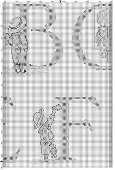 Cross stitch / Point de croix / Punto cruz / Punto croce All Our Yesterdays ABC Sampler / abecedaire / abecedario / alfabeto. Chart with only symbols (black & white)