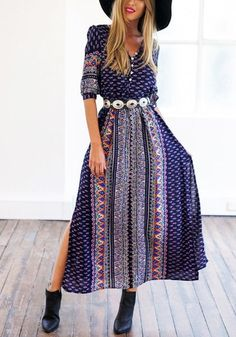 Whether you're a concert-goer or just want to try on something new and fun, this blue printed bohemian long dress is perfect for those activity-filled days under the sun.