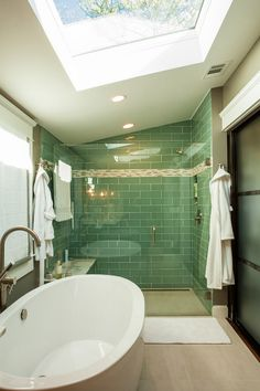 House of Turquoise: Renewal Design-Build -   converted this 1920's bungalow from a dilapidated duplex into a single family home - bathroom
