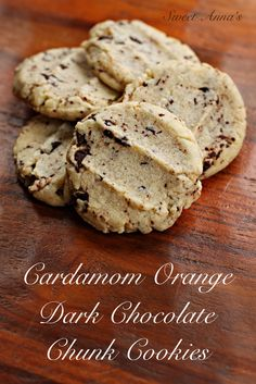 Cardamom-Orange Dark Chocolate Chunk Butter Cookies Well, if that isn't a mouthful, I just don't know what is! Cardamom Orange Dark Chocolate Chunk Butter Cookies are exactly what their very long name implies… chewy, rich butter cookies, laced with… Köstliche Desserts, Delicious Desserts, Dessert Recipes, Yummy Food, Tasty, Bar Recipes, Recipies, Cookies Et Biscuits, Chip Cookies