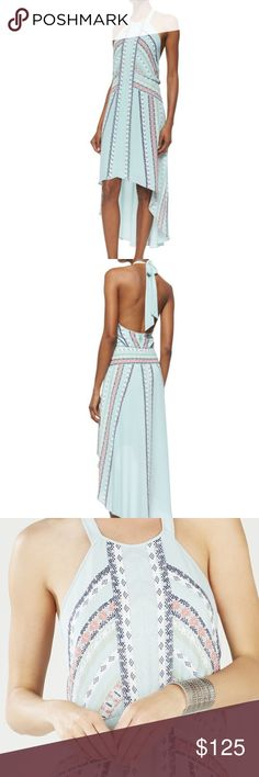 """BcbgMaxzria Ginevia Scarf Print Hi-Low Hem Halter Approx. measurements: 33""""L shoulder to hem, 40""""L center back to hem. Exude your free spirit in this scarf-printed bohemian dress.  Halter neckline. Sleeveless. Open back. Blouson top. Banded waistline. Hi-lo hemline. Allover signature engineered Eastern Tapestry Jacquard Scarf print. Concealed center back zipper with hook-and-eye closure. Self/Contrast 1/2: Polyester georgette. Lining: Polyester. Machine Wash. Imported. BCBGMaxAzria Dresses…"""