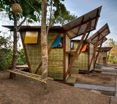 butterfly houses 1 Thailand Wood Prefab Houses with Modern Butterfly Roof Bamboo Architecture, Sustainable Architecture, Contemporary Architecture, Vernacular Architecture, House Architecture, Bamboo House Design, Small House Design, Cabin Design, Hut House
