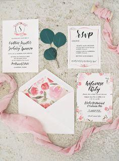 floral wedding invitations - photo by Gianny Campos http://ruffledblog.com/beautiful-destination-wedding-in-islamorada