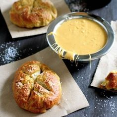 Pretzel Rolls with Beer Cheese Sauce @Christine Cargo this makes me want to go to The Congregation!