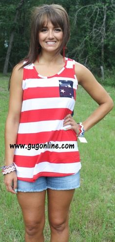 06bea4905dc2 Land of the Free Striped Tank with Sheer Navy Back with Stars  24.95  www.gugonline · Giddy Up GlamourLand ...