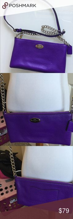 """new coach Purple Quinn Bag Leather 8.5 x 5 x 1.5 excellent condition authentic clean  22"""" Strap gorgeous purple with silver hardware Coach Bags Crossbody Bags"""