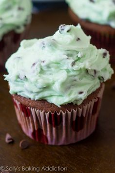 Simple Homemade Chocolate Cupcakes with Mint Chocolate Chip Frosting!