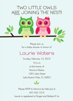 27 best twin baby shower images on pinterest baby shower twin owl baby shower invitation filmwisefo