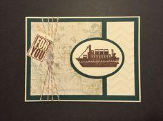 Ship on cream & green masculine handmade card.
