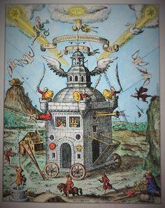 """Het onzichtbare college van de rozenkruisers. Het college is hier een verrijdbaar kasteel, dat door de hand van god wordt gesteund en triomfeert over zijn vijanden. De scheikundige Robert Boyle verwees naar """"ons onzichtbare college"""" voor de oprichting van de Royal Society, waarvan hij stichtend lid was."""
