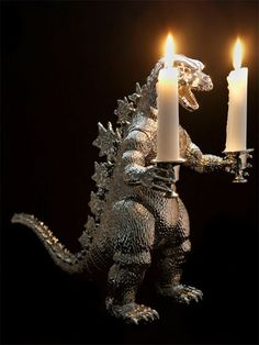 what do you mean Godzilla isnt romantic? what do you mean Godzilla isnt romantic? what do you mean Godzilla isnt romantic? Plastic Animals, Plastic Animal Crafts, Animal Projects, Diy Projects, Candlestick Holders, Balrog, Rococo, Repurposed, At Least