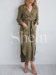 Army Green Long Sleeve Pockets Split Maxi Dress -SheIn(Sheinside) Mobile Site