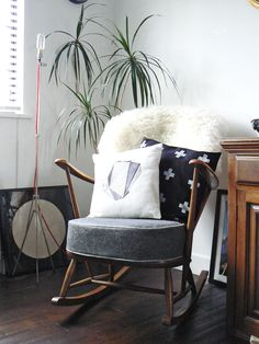 1960s Ercol rocking chair with cushion recovered in grey wool with ...