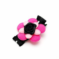 Pink Flower Hair Clip Black and Pink Hair Clip Rose by SpunkyBunny, $3.00