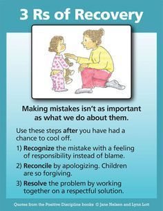 Positive Discipline: Parenting Tool Cards. Reconciling with your children when you wrong them is important to never forget