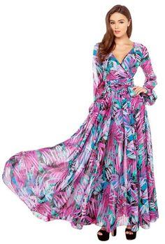 La Vogue-Vestito Manica Lunga Donna di Poliestere e Chiffon Fiore Tropicale della Stampa: Amazon.it: Abbigliamento