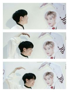 GOT7 Yugyeom try to make a heart with Bambam's pict