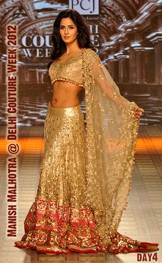Katrina Kaif in @ManishMalhotra1 http://www.manishmalhotra.in/flash.html Exquisite Lehenga @ Delhi #Couture Week 2012