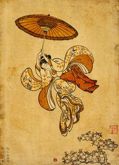 Suzuki Harunobu (1725–1770) / Is this the Japanese answer to Mary Poppins? Lol