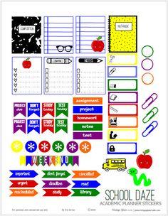 School Daze Planner Pegatinas | Descargar para imprimir gratis