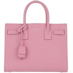 Saint Laurent Handle Bag - Sac De Jour Baby Tote Indian Pink - in rose... found on Polyvore featuring bags, handbags, tote bags, bolsas, rose, leather tote purse, leather tote, monogram tote, mini tote bags and leather purses