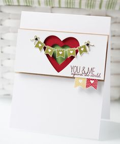 Double heart punches and cute banners make this a great handmade Valentine's card.
