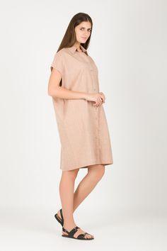 Women's Oversized Shirt Dress | Organic Cotton Dress | Beige Dress