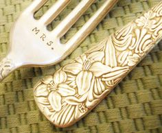 """Custom Stamped Forks: Ornate Personalized Wedding Forks; Engagement Wedding Anniversary Gift, Vintage Silver, """"EMBOSSED"""" Pattern, Gift Boxed  #wedding #wedding_forks #stamped_forks #MR_MRS"""