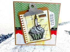 "Basic Grey Fact or Fiction 6"" x 6"" paper pad; Notebook paper, clipboard and HB2U tag cut on Silhouette; Tim Holtz cupcake stamp and washi tape.  Card by Terri"