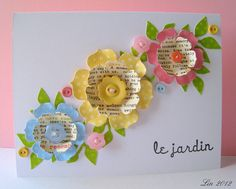 Flower punches and dies. These flowers would be cute accents on a scrapbook page. Pretty Cards, Cute Cards, Button Flowers, Paper Flowers, Button Cards, Card Tags, Paper Cards, Flower Cards, Creative Cards