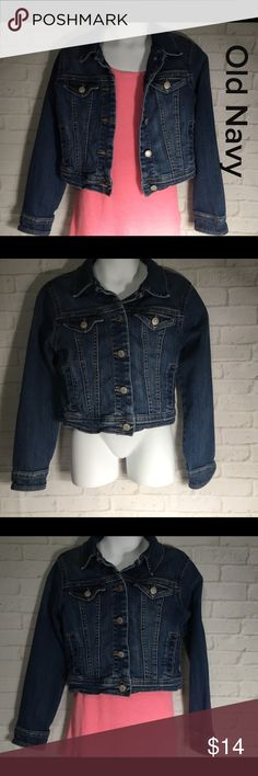 "Old Navy blue jean jacket girls small 6-7 This is a girls Old Navy blue jean jacket small 6-7 Armpit to Armpit 13"" length 13"" approx. laying flat.  This jacket is free from any rips, stains or tears and comes from a smoke free home.  Comes with pink tank top.  Buy with confidence I am a Posh Ambassador, top rated seller, mentor and fast shipper.  Don't forget to bundle and save.  Thank you. Old Navy Jackets & Coats Jean Jackets"