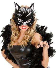 Augenmaske Katze mit Federn schwarz-weiss , günstige Faschings Masken bei Karneval Megastore, der größte Karneval und Faschings Kostüm- und Partyartikel Online Shop Europas! Elegant, Halloween Face Makeup, Fashion, Costumes, Kitty Costume, Sequins, Feathers, Mascaras, Black