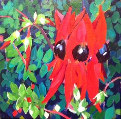 "Mellissa Read-Devine: ""Sturt's Desert Pea"" Acrylic on Canvas 12"" square"