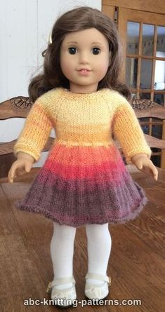 29 Ideas knitting patterns free doll for 2019 American Girl Outfits, American Girl Dress, American Doll Clothes, Knitting Dolls Clothes, Crochet Doll Clothes, Girl Doll Clothes, Knitted Dolls Dress Pattern, Doll Dress Patterns, Skirt Pattern Free