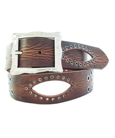 Another great find on #zulily! Brown Stud Cutout Leather Belt by Galaxy Belts #zulilyfinds