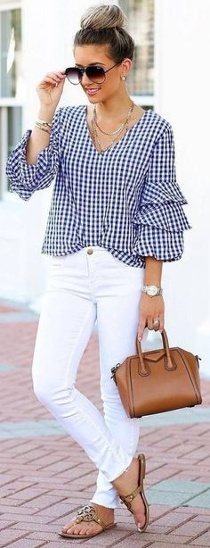 #Summer #Outfits / Pattern Print Angel Sleeves Top + White Pants
