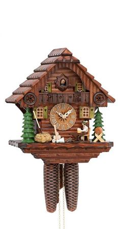 Cuckoo Clock Black Forest House with Moving Beer Drinker by Hekas