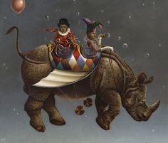 Art by Claudia Giraudo Art Nouveau, Rhino Art, Steampunk, Joker Art, Rhinoceros, Man Vs, Italian Artist, Weird And Wonderful, Surreal Art