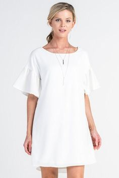 THE BELL DRESS is a shift dress with a boat neckline and shirred bell sleeves. Beautiful Casual Dresses, Belle Dress, Baby Ideas, Fashion Ideas, Ready To Wear, Bell Sleeves, Cold Shoulder Dress, White Dress, Dressing