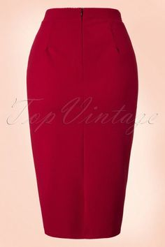 Vintage Chic for TopVintage 50s Joyce Pencil Skirt in Wine Red online kopen