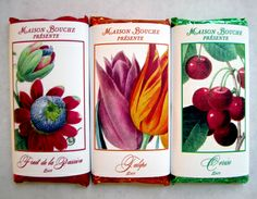 "Maison Bouche ""Botanicals"" Collection Passionfruit, Tulip and Cherry bars in milk chocolate"