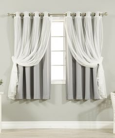 Look at this Gray Tulle Blackout Short Curtain Panel - Set of Four on #zulily today!
