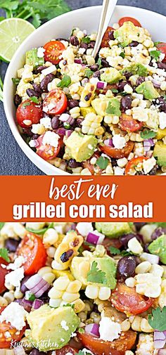 Home Made Doggy Foodstuff FAQ's And Ideas This Easy Summer Grilled Corn Salad Recipe Is Full Of Fresh Grilled Corn, Avocado, Black Beans, And Cotija Cheese, Along With A Chili-Lime Mexican Dressing. Its The Perfect Healthy Side Dish For All Of Your Summer Cold Side Dishes, Taco Side Dishes, Grilled Side Dishes, Mexican Side Dishes, Summer Side Dishes, Healthy Side Dishes, Side Dishes Easy, Cold Corn Salad, Fresh Corn Salad