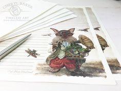 Rabbit Stationery Paper- Stationery Paper Set- Stationery Set- Writing Paper- Lined Paper - Steampunk Paper - Nursery Paper - Woodland Paper